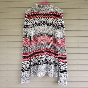 Chaps Red & Gray Fleece Long Sweater Size Large